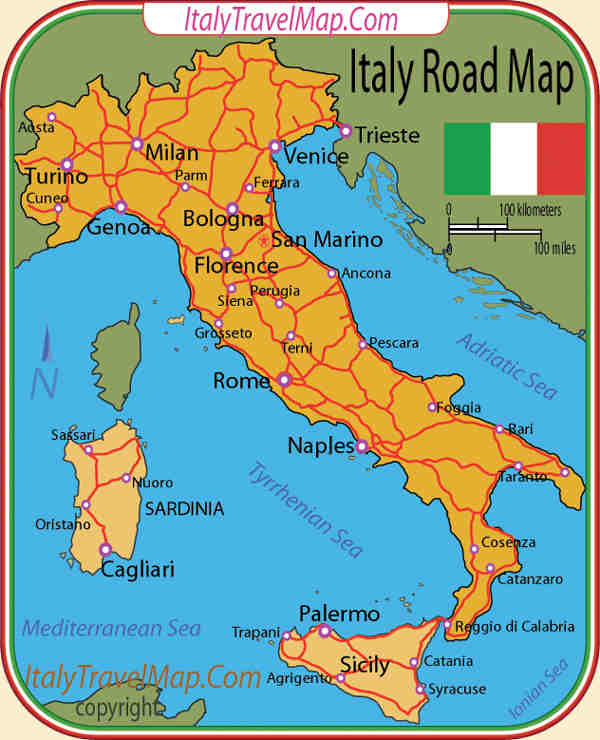 Map Of Eastern Italy.Italy Travel By Car